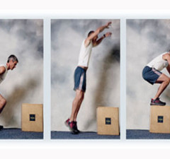 man jumping on to a box
